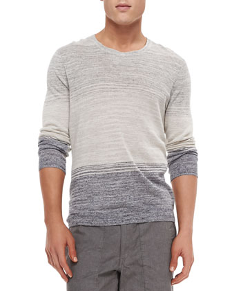 Hayden Linen/Cotton Crewneck Sweater, Blue/Gray