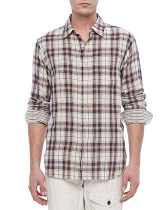 Plaid Beach Shirt, Navy/White