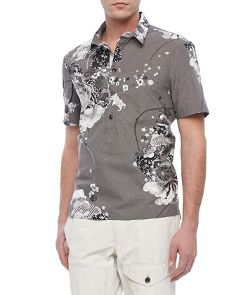 Sussex Floral-Print Polo, Gray