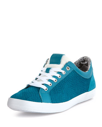Men's Viper-Print Leather Low-Top Sneaker, Turquoise
