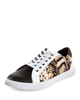 Python-Print Calf-Hair Low-Top Sneaker, White