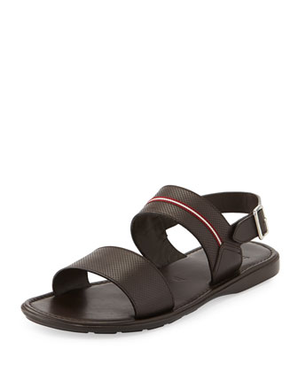 Daiki Fisherman Strappy Leather Sandal, Black