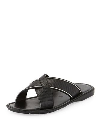 Darlie Leather Crossed Sandal, Black