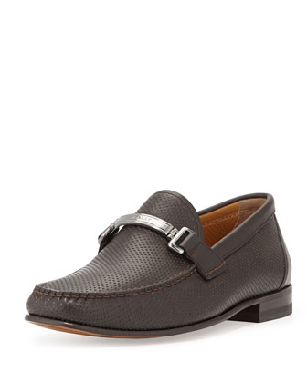 Tecno Perforated Leather Loafer, Brown