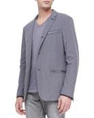 Three-Button Zip Sport Coat, Dry Lavender