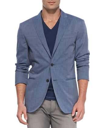 V-Neck Slub Tee/Two-Button Peaked Lapel Jacket & Bowery Dove Denim Jeans