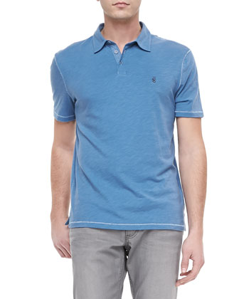 Soft-Collar Peace Sign Polo, Blue Topaz