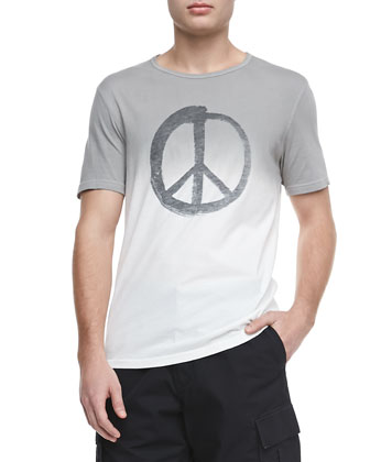 Dip-Dyed Peace-Sign Tee, Salt