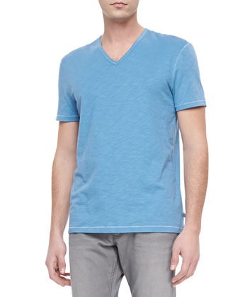 Slub V-Neck Tee, Light Blue