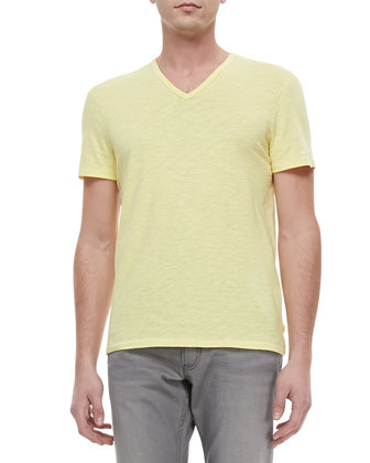 Slub V-Neck Tee, Yellow