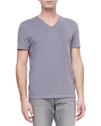Slub V-Neck Tee, Light Purple