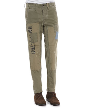 Patched Utility Pants, Military Olive