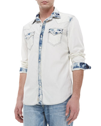 Bleached Long-Sleeve Western Shirt, White
