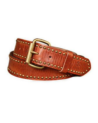 Men's Studded Leather Belt, Chocolate