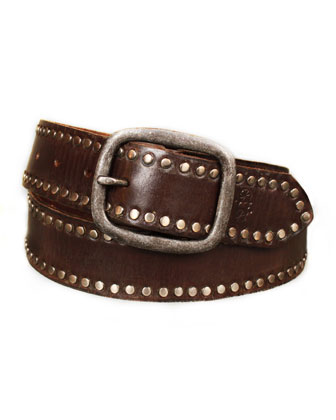 Hammered-Buckle Studded Belt, Chocolate