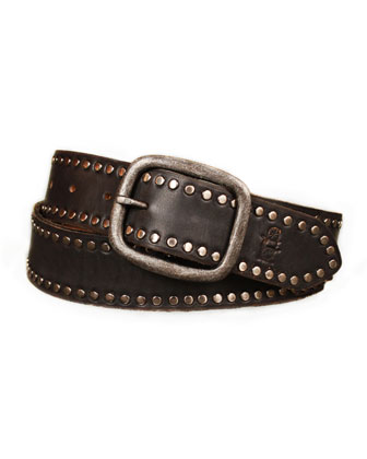 Hammered-Buckle Studded Belt, Black