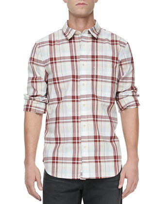 Oversized-Plaid Long-Sleeve Shirt, Stone/Brick
