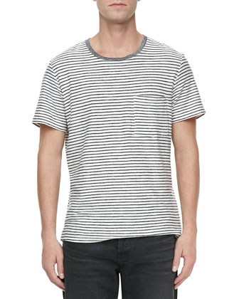 Mariner Striped Short-Sleeve Tee, Navy