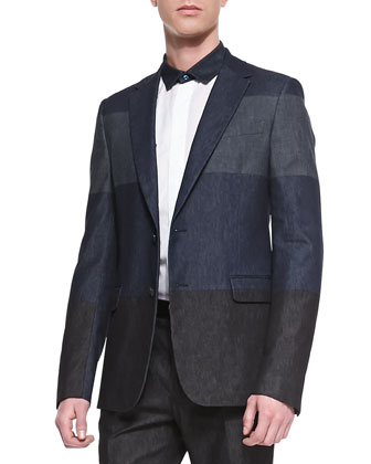 Colorblock Denim Sport Coat, Navy
