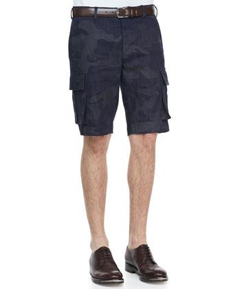 Camo-Print Cargo Shorts, Navy