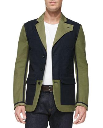 Bicolor Reversible Jacket, Green/Navy