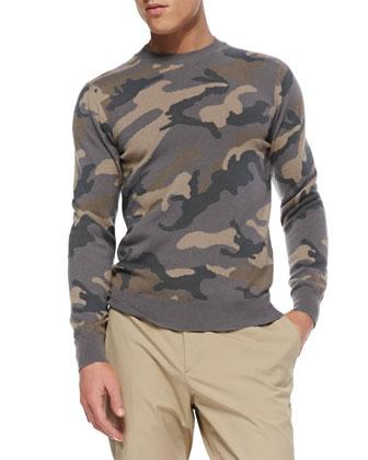 Camo Cashmere Crewneck Sweater, Beige/Gray
