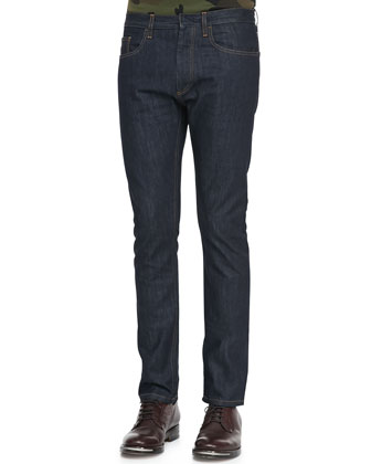 Dark Clean-Washed Denim Jeans, Indigo