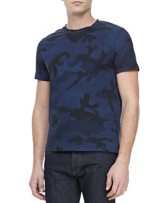 Camo-Print Crewneck Tee, Blue/Black