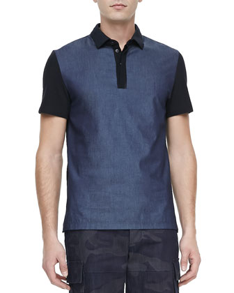 Chambray-Front Short-Sleeve Polo, Navy