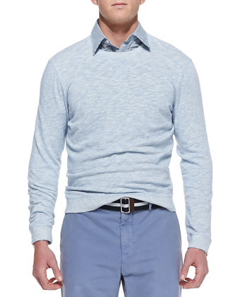 Lightweight Melange-Knit Sweatshirt, Light Blue