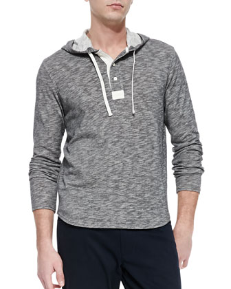 Two-Tone Hooded Henley, Black
