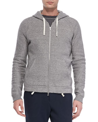 Fleece Zip-Front Hoodie, Grey