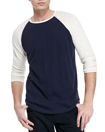 Slub-Knit Raglan Tee, Cream/Navy