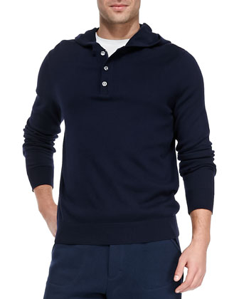 Hooded Knit Zip/Button Henley, Navy