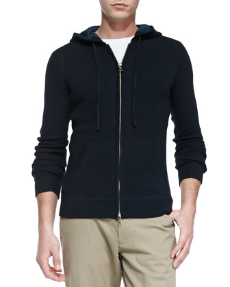 Thermal Zip-Front Hoodie, Cream/Navy