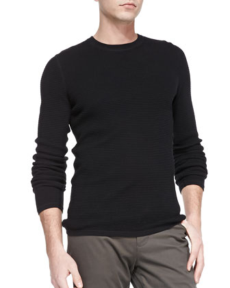 Thermal Pullover Sweater, Black