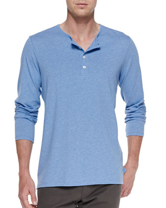Melange-Knit Long-Sleeve Henley, Light Blue