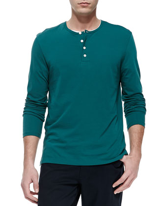 Long-Sleeve Jersey Henley, Green