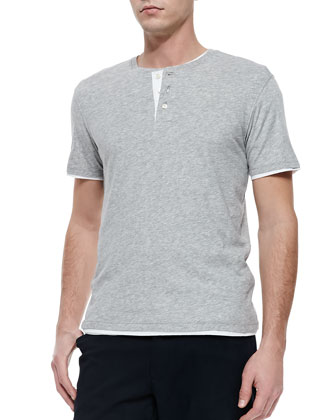 Double-Layer Short-Sleeve Henley, Gray