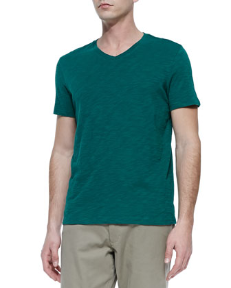 Slub V-Neck Tee, Green