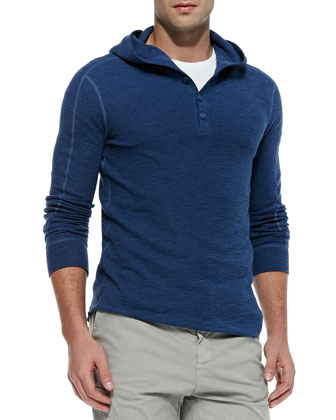 Slub Hooded Long-Sleeve Henley, Blue