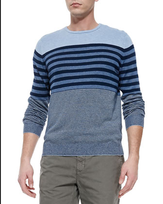 Linen-Blend Striped Sweater, H. Denim