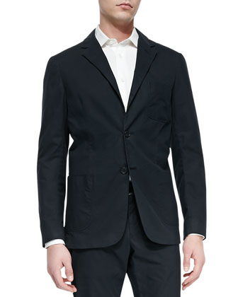 Slim-Fit Stretch-Cotton Blazer, Navy