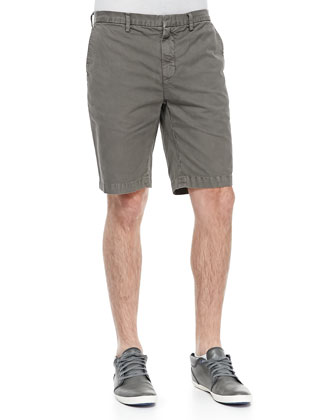 Cotton-Twill Shorts, Taupe