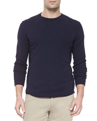 Long-Sleeve Slub Thermal Tee, Navy