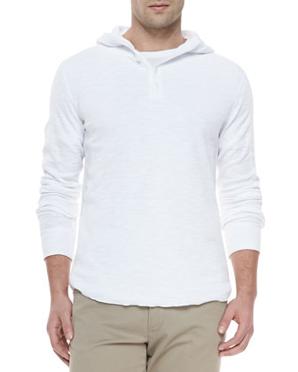 Slub-Knit Hooded Henley, White