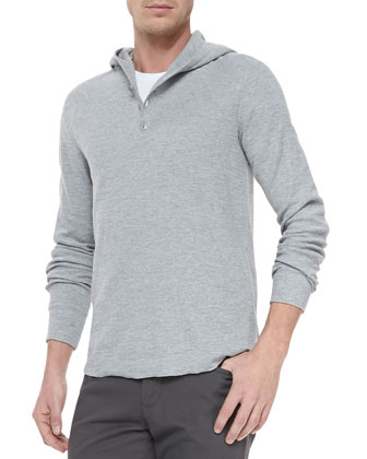 Slub-Knit Hooded Henley, Gray
