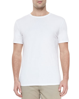 Jersey Crewneck Short-Sleeve Tee, White