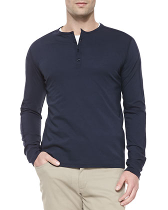 Long-Sleeve Jersey Henley, Navy