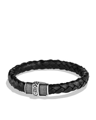 Chevron Narrow Woven Leather Bracelet in Black